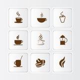 Ilustração lisa do ícone do café, símbolos diferentes e estilos ilustração royalty free