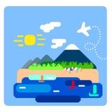 Ilustração lisa do avião e da paisagem do verão da ilha Foto de Stock