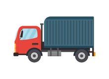Ilustração lisa do caminhão do vetor do estilo da entrega Fotos de Stock