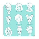 Ilustração lisa do caráter Grupo do ícone Estilo do esboço Fotografia de Stock