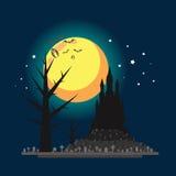 Ilustração lisa do castelo do Dia das Bruxas do projeto ilustração stock