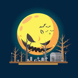 Ilustração lisa do cemitério do Dia das Bruxas do projeto ilustração stock