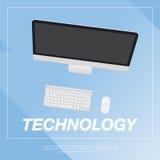 Ilustração lisa do computador Fotografia de Stock