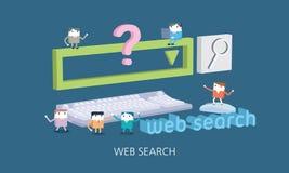 Ilustração lisa do conceito da busca da Web do caráter Imagem de Stock