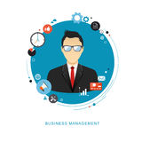 Ilustração lisa do conceito da gestão empresarial Homem do escritório com i Imagem de Stock