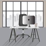Ilustração lisa do conceito do escritório Projeto moderno do local de trabalho do vetor ilustração stock
