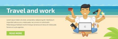 Ilustração lisa do encabeçamento do Web site de meditar o freelancer que trabalha na praia Fotografia de Stock