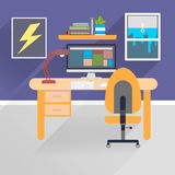 Ilustração lisa do espaço de trabalho Imagens de Stock Royalty Free