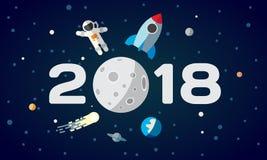 Ilustração lisa do espaço para o calendário O astronauta e o foguete no fundo da lua Tampa do ano 2018 novo feliz, cartaz, fl ilustração royalty free