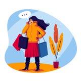 Ilustração lisa do estilo da cor do vetor Menina de compra que fala no telefone A jovem mulher elegante vem com os sacos em suas  ilustração royalty free