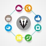 Ilustração lisa do estilo do ícone social dos meios Fotos de Stock