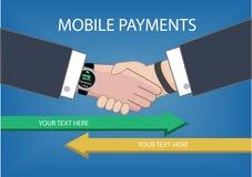 Ilustração lisa do estilo do projeto do relógio esperto moderno com processamento de pagamentos móveis de um dispositivo a outro Imagem de Stock