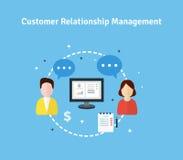 Ilustração lisa do gerenciamento de relacionamento com o cliente Fotos de Stock