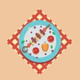 Ilustração lisa do molde do projeto do ícone conservado em estoque dos símbolos do alimento do piquenique do verão do jantar da f Foto de Stock Royalty Free