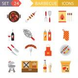 Ilustração lisa do molde do projeto do ícone conservado em estoque dos símbolos do alimento do piquenique do verão do jantar da f Foto de Stock