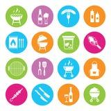 Ilustração lisa do molde do projeto do ícone conservado em estoque dos símbolos do alimento do piquenique do verão do jantar da f Fotografia de Stock