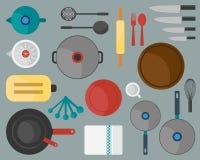 Ilustração lisa do projeto da ferramenta da cozinha Imagens de Stock