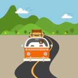 Ilustração lisa do projeto do conceito retro do curso da camionete Fotos de Stock Royalty Free