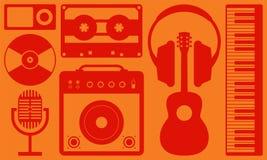 Ilustração lisa do projeto do fundo do instrumento de música Fotos de Stock Royalty Free