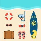Ilustração lisa do projeto dos elementos do verão Fotos de Stock
