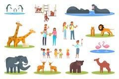 Ilustração lisa do projeto do estilo do vetor ajustado do ícone do jardim zoológico ilustração do vetor