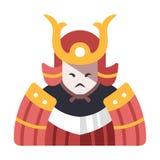 Ilustração lisa do samurai ilustração royalty free