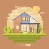 Ilustração lisa do vetor com casa Foto de Stock Royalty Free
