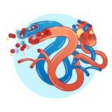 A ilustração lisa do vetor do conceito dos vasos sanguíneos com coração e o glóbulo fluem Informação médica educacional ilustração stock