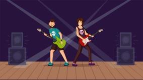 Ilustração lisa do vetor do concerto de rocha ilustração royalty free