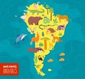 Ilustração lisa do vetor do continente, dos animais & das plantas de Ámérica do Sul: crocodilo, urso, anaconda, tamanduá, macaco, ilustração stock