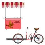 Ilustração lisa do vetor da bicicleta do cachorro quente da rua Imagem de Stock