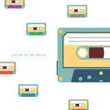 Ilustração lisa do vetor da cassete áudio Foto de Stock
