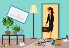 Ilustração lisa do vetor da mulher de negócios em casa ilustração royalty free