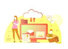 Ilustração lisa do vetor da nuvem para todos os dispositivos Tudo em seu dispositivo ou no armazenamento da nuvem Nuvem do uso do Foto de Stock