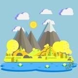 Ilustração lisa do vetor da paisagem da natureza do projeto de montanhas cênicos, de lago, do céu nebuloso, do prado, do sol e da Fotografia de Stock