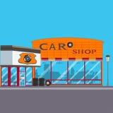 Ilustração lisa do vetor da sala de exposições do carro Fotografia de Stock Royalty Free