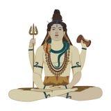 Ilustração lisa do vetor de Shiva do deus hindu Fotografia de Stock Royalty Free