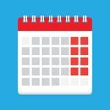 Ilustração lisa do vetor do ícone do calendário ilustração royalty free