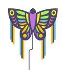 Ilustração lisa do vetor do brinquedo colorido pequeno do verão do vento do divertimento do papagaio dos peixes do arco-íris do v Fotos de Stock