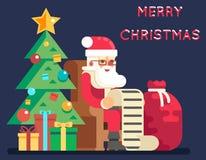 Ilustração lisa do vetor do cartão do projeto do ícone do ano novo de Santa Claus Tree Bell Gifts List do Natal Foto de Stock Royalty Free