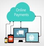 Ilustração lisa do vetor do conceito dos pagamentos em linha Imagem de Stock