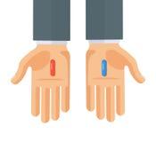 Ilustração lisa do vetor do estilo das mãos com os comprimidos vermelhos e azuis Imagens de Stock