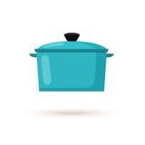 Ilustração lisa do vetor do estilo do potenciômetro da cozinha Fotografia de Stock Royalty Free