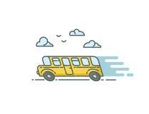 Ilustração lisa do vetor do ônibus Fotos de Stock Royalty Free