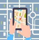 Ilustração lisa do vetor do projeto Colocação de um curso da rota, turismo da tecnologia de GPS ilustração stock