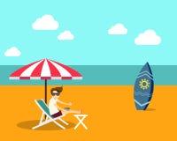 Ilustração lisa do vetor do projeto da praia do verão do tempo de férias Imagem de Stock Royalty Free