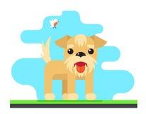 Ilustração lisa do vetor do projeto do conceito engraçado do fundo do céu do pássaro do cão Imagens de Stock Royalty Free