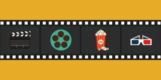 Ilustração lisa do vetor do projeto do elemento do cinema Foto de Stock