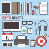 Ilustração lisa do vetor do projeto do elemento do tablet pc do portátil do Desktop Fotografia de Stock Royalty Free