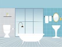 Ilustração lisa do vetor do projeto do interior moderno do banheiro Ilustração do Vetor
